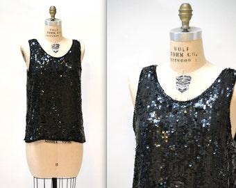 Vintage Black Sequin Shirt Tank Top Size Medium Large// 80s Vintage Sequin Top Black Size Medium Large