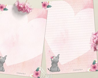 Elegant Elephant - DOWNLOAD file - Printable Writing paper - A5 size