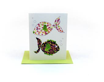 fish friends | friendship and love cards | just because card | valentines day card | valentine card | polka dot fish | neon fish