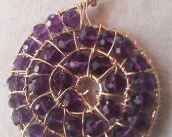 Amethyst Pendant, Amethyst Spiral Pendant, Amethyst Ammonite Pendant, Purple Quartz and Gold Pendant, Faceted Stone Pendant, Amethyst Gems