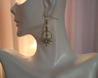North Star Earrings, Star Earring, Gold star earrings