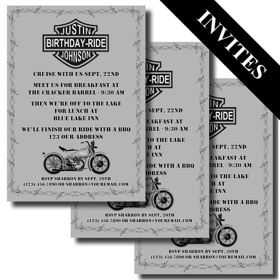 Items similar to harley davidson motorcycle custom printable items similar to harley davidson motorcycle custom printable birthday invitation on etsy bookmarktalkfo Image collections