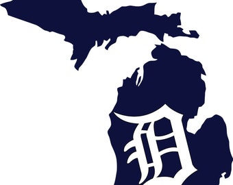 "Detroit Tigers Old English ""D"" State of Michigan vinyl cornhole decals set of 2,  Multiple colors, free shipping"