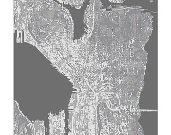 Seattle Cityscape / Graphic City Map Art Print / Washington Map Poster / 8x10 Digital Print