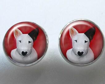 Boucles d'oreilles Bull Terrier ~ boucles d'oreilles boule ~ cadeau d'anniversaire ~ cadeau Unique ~ cible chien ~ Portraits de chien ~ April Birthday