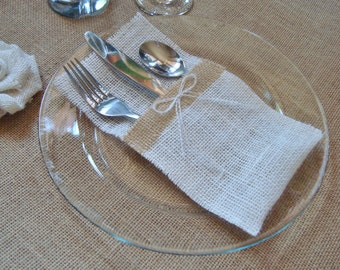 10 Burlap Silverware Holders – Color: White/Cream, with Brown Burlap Strip and White/Cream Burlap Bow