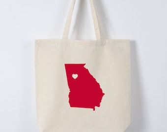 GEORGIA LOVE TOTE Atlanta red state silhouette with heart on natural bag