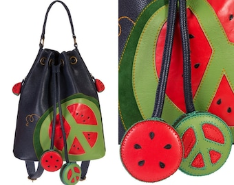 Blue leather backpack watermelon fruit accessories women shoulder bag Valentine Day gift for girlfriend school college backpack red green