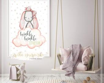 Printable artwork digital download TWINKLE LITTLE STAR for nursery, decoration poster, room wall art, ilovedigi