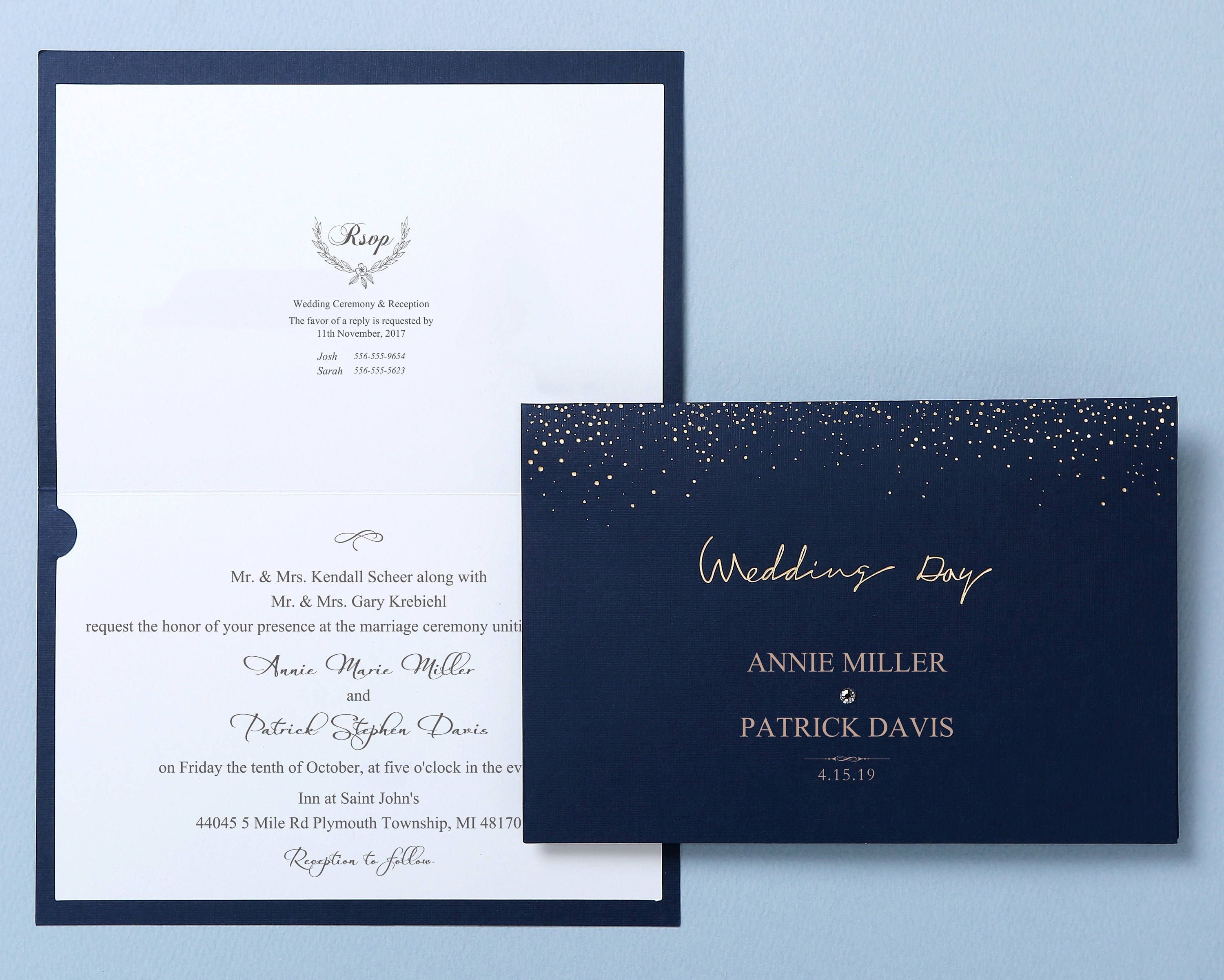 Navy blue wedding invitations with rhinestone gold foil wedding navy blue wedding invitations with rhinestone gold foil wedding invitation all in one wedding invitation rsvp free envelope seal sw7101 stopboris Gallery