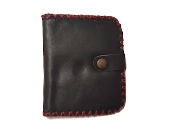 SLIM | Black Leather Wallet with Red Stitching | Leather Cardholder Wallet | Top-Grain Bifold Leather Wallet