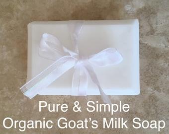 Organic Goat's Milk Soap: DYE FREE, FRAGRANCE Free Hypoallergenic Soap  — Handmade Soap / Organic Soap / Natural Soap / Hand Soap / Bar Soap