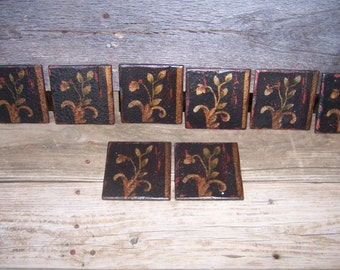 Vintage Style Hand Painted Wooden Tiles