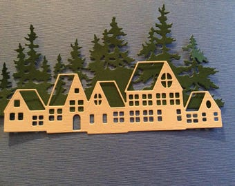 Trees and Houses, Handmade, Green, Beige, Cards, Scrapbook Page, Sizzix