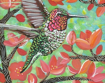 "6x6 inch Archival Print on Wood  ""Spring Hummingbird #3"""
