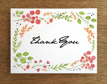 Wedding Thank You Card Template - Printable Thank You Note - Instant Download - Printable Thank You Card - Water Color Flowers