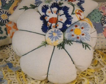 Big Fat Embroidered Pincushion Vintage Linen Sewing Quilting