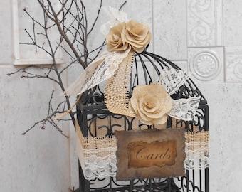 Rustic Burlap Roses & Lace Wedding Bird Cage Card Box | Wedding Card Holder | Wedding Birdcage | Rustic Wedding Decor | Burlap Decorations