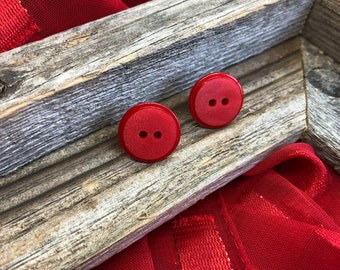 Vintage Red Button Stud Earrings