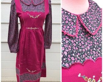 Kawaii rose red floral 80s prairie dress size large