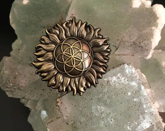 Sunflower Seed of Life Pin - 3D Sacred Geometry Hat Pin / Lapel Pin sunflower pin sunflower hatpin flower of life hatpin enlighten pin