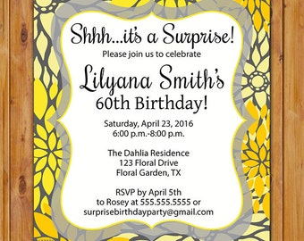 Yellow Grey Surprise Birthday Party Invitation Floral Burst  50th 60th Milestone Adult Birthday 5x7 Digital JPG DIY Printable (540)