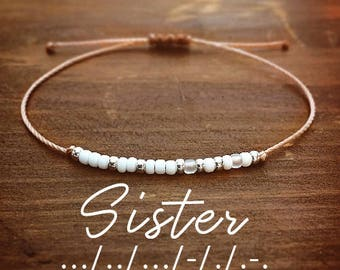 Sister Morse Code Bracelet - Bracelets for Women - Best Friend Gift - Gift for Her - Minimal Bracelet - Friendship Bracelet - Custom Jewelry