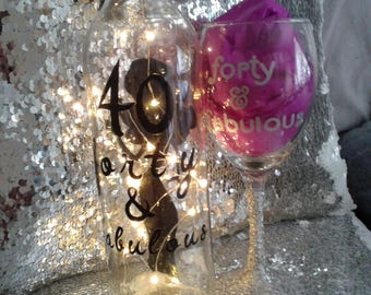 40th glass and lamp bottle