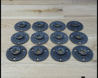 Set of 12 flanges floor ' 1/2-15/21 mm black cast iron - 3 hole - free shipping (in metropolitan France only)