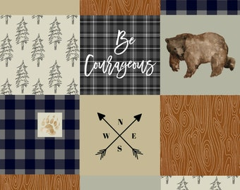 "Minky Bear Lovey/ Be Courageous/Woodland Baby Gift/Minky Baby Lovey/Minky Bear Blanket/Security Blanket/18"" x 24"""