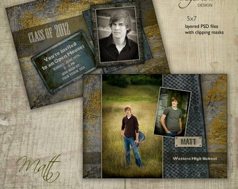 Graduation Announcement Card Template for Photographers - 5x7 Guys Senior Graduation Invitation - MATTHEW