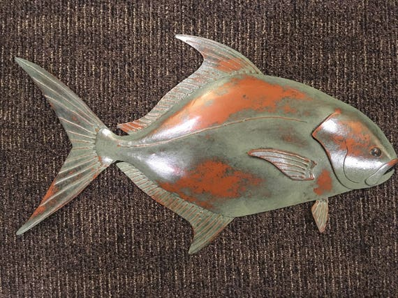 Pompano Fish Wall Sculpture 24in Tropical  Coastal Beach Metal  Art