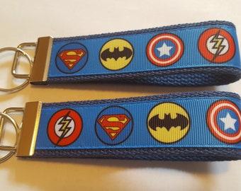 "Superheros Captain America Batman Superman Movies TV Cartoons 6"" Key FOB Keychain Wristlet Grosgrain Ribbon Heavy Cotton Webbing"