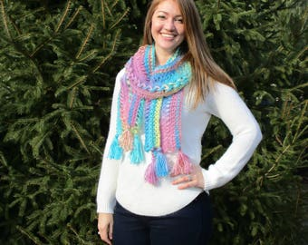 Women's Long Crochet Scarf- Textured and Braided- Handmade- Multicolored