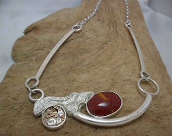 Steampunk in sterling silver with red Jasper necklace