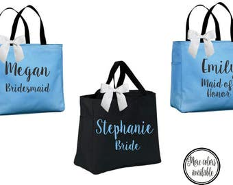 bridal totes, bridal party totes, personalized totes, bridesmaid tote, bridesmaid gift, bride tote,