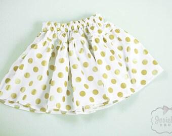 Gold Dot Skirt - Girl Twirl Skirt - Infant Glitz Gold - Tween Skirt - Christmas Toddler Cotton Fabric 6 month to Girl 16