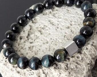 Brown Blue Tiger Eye Meditation Bracelet & S925 Sterling Silver Balance Cube Bead - Gemstones Hope Compassion Organic Grounding OM Awareness