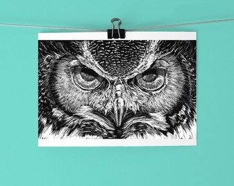 Great Horned Owl Art Print / Owl Eyes Illustrated Art Print / Black and White Art / Scratchboard Art / Hand drawn