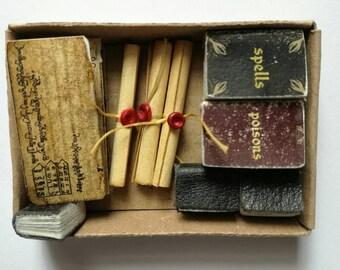 Sorcerer's, spell books, 1:12 spell books, Wizard mini spell books, witchy, wizard spell, wizard book, miniature journals, scrolls, esoteric