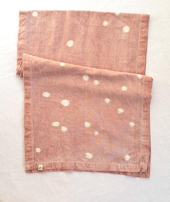 Avocado Dyed Polka Dot Table Runner Linen Cotton Blend