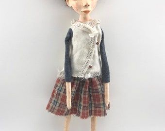 cloth and clay folk art doll ooak sculpted brown eyes auburn hair original Eilish
