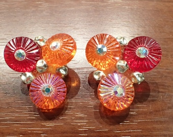 Hot Summer Colors West Germany Clip Earrings, Cherry Red, Tangerine Orange, AB Orange Discs with Clear Rhinestones