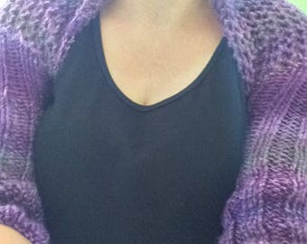 Purple Shades of A Shrug Knitting Pattern PDF ONLY