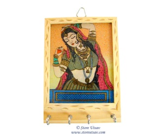 Key Holder / Hook / Peg Home Decor Indian Handicraft Rajasthani Gemstones Painting Style -A Traditional Rajasthani Royal Woman Dressing Up