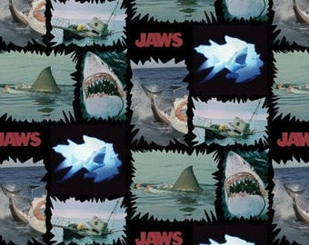 Jaws Shark Fabric, black background -Quilting Cotton; [[by the half yard]]