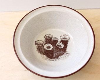 Cactus Desert Flowers. Vintage 1970s Noritake rim cereal bowl.
