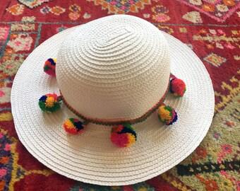 White Pom Pom Hat - Summer Hat - Sun Hat - Boho Hat - Straw Hat - Beach Hat - Bucket Hat - Medium Hat - Wide Brim Hat - Vacation Hat