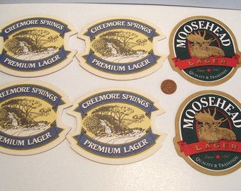 6 Beer Mats Coasters 4 Creemore Springs 2 Moosehead Canada Unused