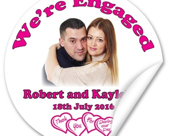 Personalised Engaged Stickers / Seals, Full Colour Gloss 45mm with your Image